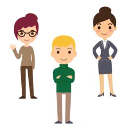 Illustrasjoner av personas to kvinner og en mann.  Det er viktig å tilpasse din videomarkedsføring til riktig personas.